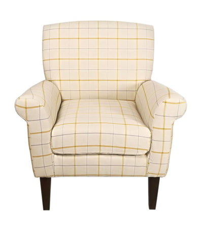 The Highland Occasional Chair in Butterscotch Plaid Soft Fabric & Dark Wood