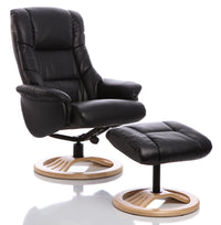 The Mandalay Swivel Recliner Chair In Black Bonded Leather & Natural Base