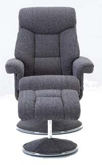 Biarritz Soft Fabric Swivel Recliner Chair & Matching Footstool In Lisbon Grey