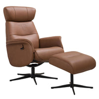 Panama in Tan Genuine Leather Swivel Recliner Chair with Adjustable Headrest & Matching Footstool