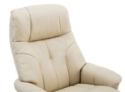 Dubai Faux Leather Cream Plush Swivel Recliner Chair With Matching Footstool