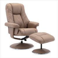 The Denver Swivel Recliner Chair & Footstool - Genuine Leather - Earth