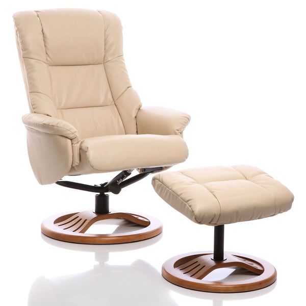 The Mandalay Swivel Recliner Chair In Cream Bonded Leather & Cherry Base.