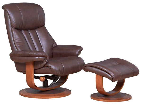 Hereford Genuine Leather Saddle Brown Swivel Reclining Chair Matching Footstool