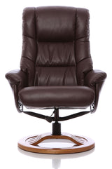 The Mandalay Swivel Recliner Chair In Nut Brown Bonded Leather & Cherry Base.