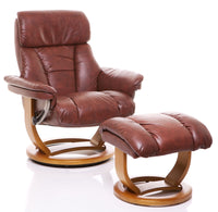 The Mars Chestnut Genuine Leather Swivel Recliner Chair & Footstool - Clearance