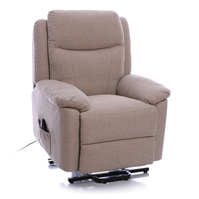 Oxford Riser Recliner / Lift & Tilt Chair in Soft Beige Fabric with USB charging