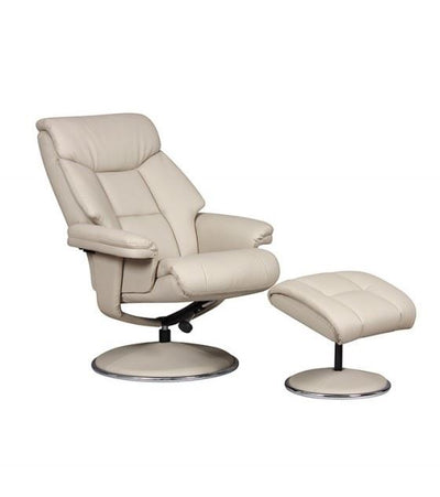 Biarritz Plush Swivel Recliner Chair & Matching Footstool In Bone/Chrome