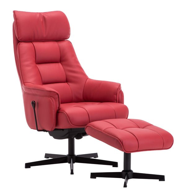 The Auckland Cherry Plush Leather Swivel Recliner Chair with Matching Footstool