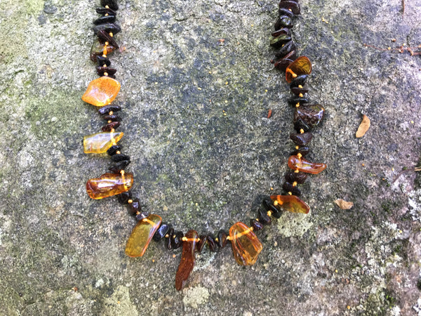 Tribal Baltic Amber Necklace ~ Dark
