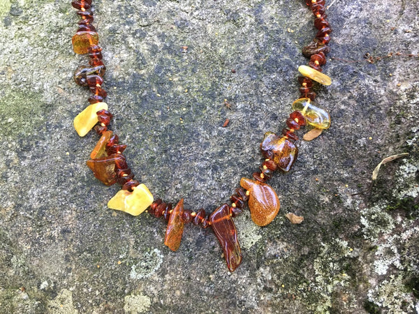 Tribal Baltic Amber Necklace ~ Light