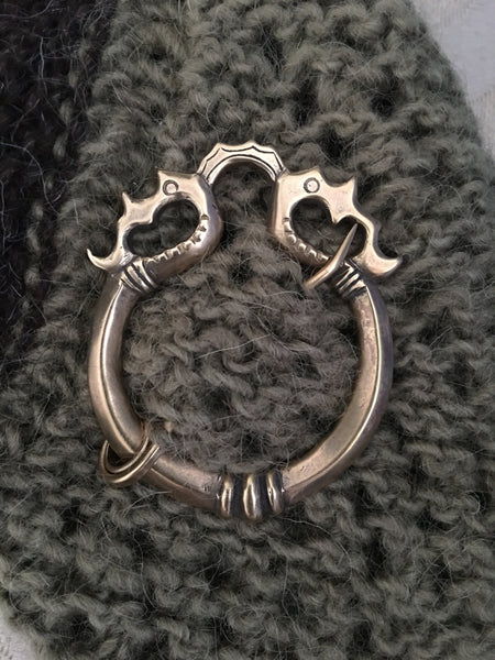 Viking Shawl Pin , Celtic Clasp , Dragon Penannular Brooch