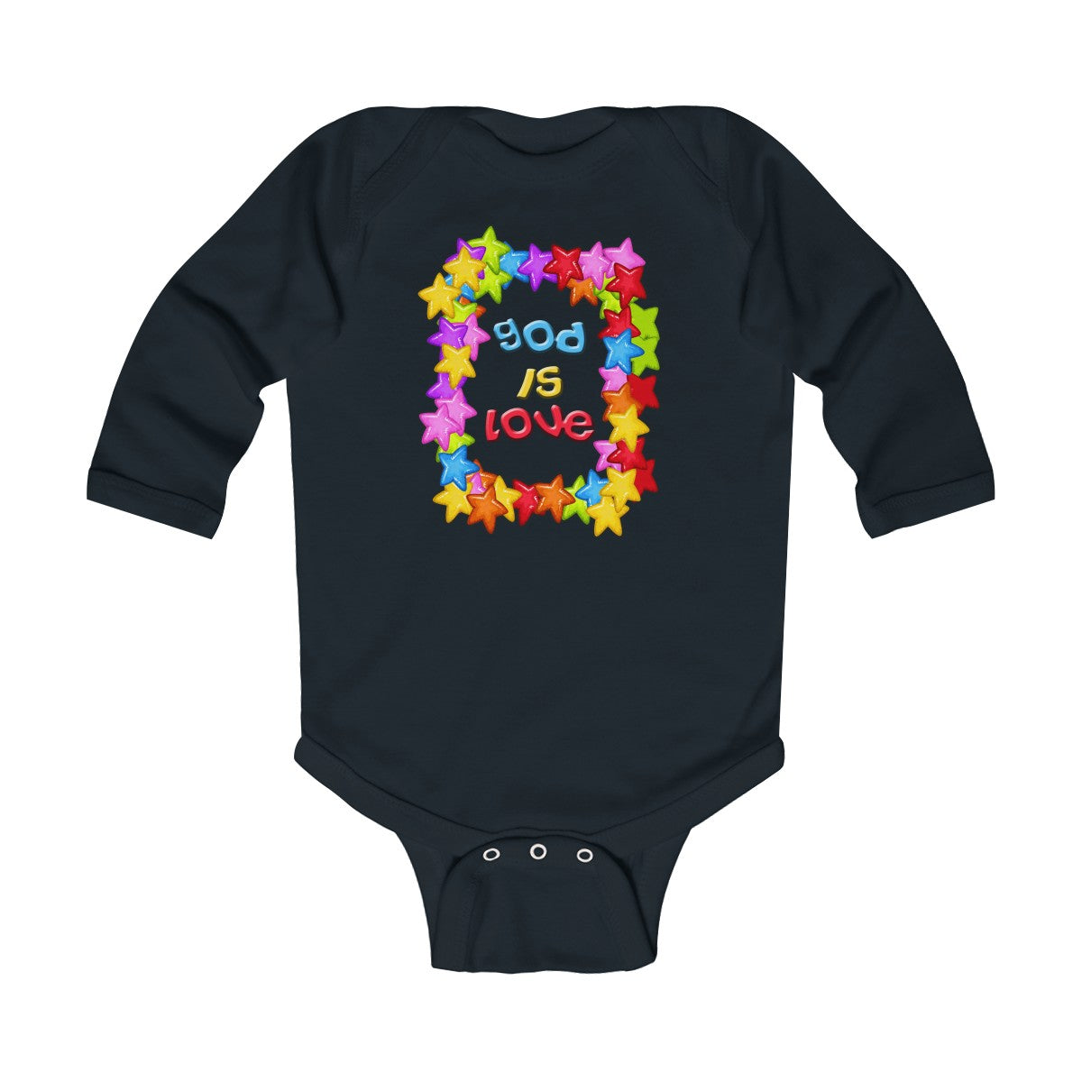 God is Love Colorful Infant Long Sleeve Bodysuit