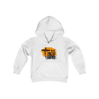 Do All Things With Love Youth Heavy Blend Hooded Sweatshirt