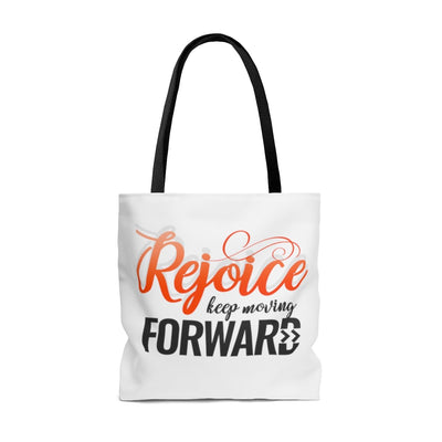 Rejoice Keep Moving Forward AOP Tote Bag