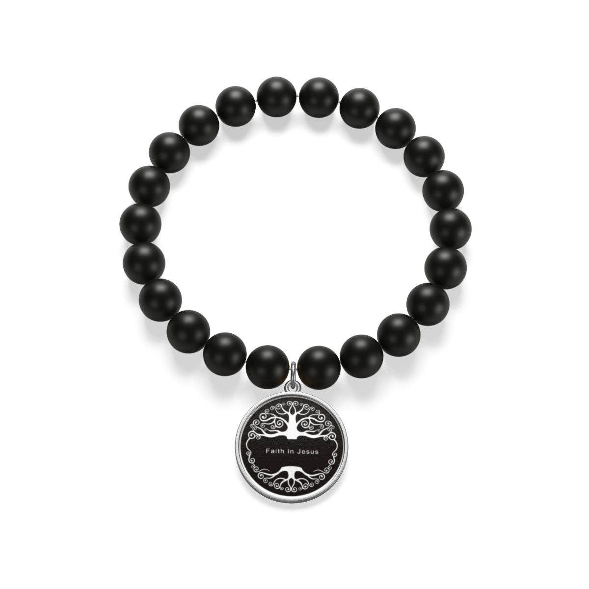 Faith in Jesus Tree Matte Onyx Bracelet