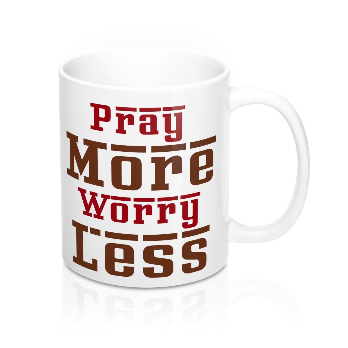 Pray More Worry Less Letters Mugs