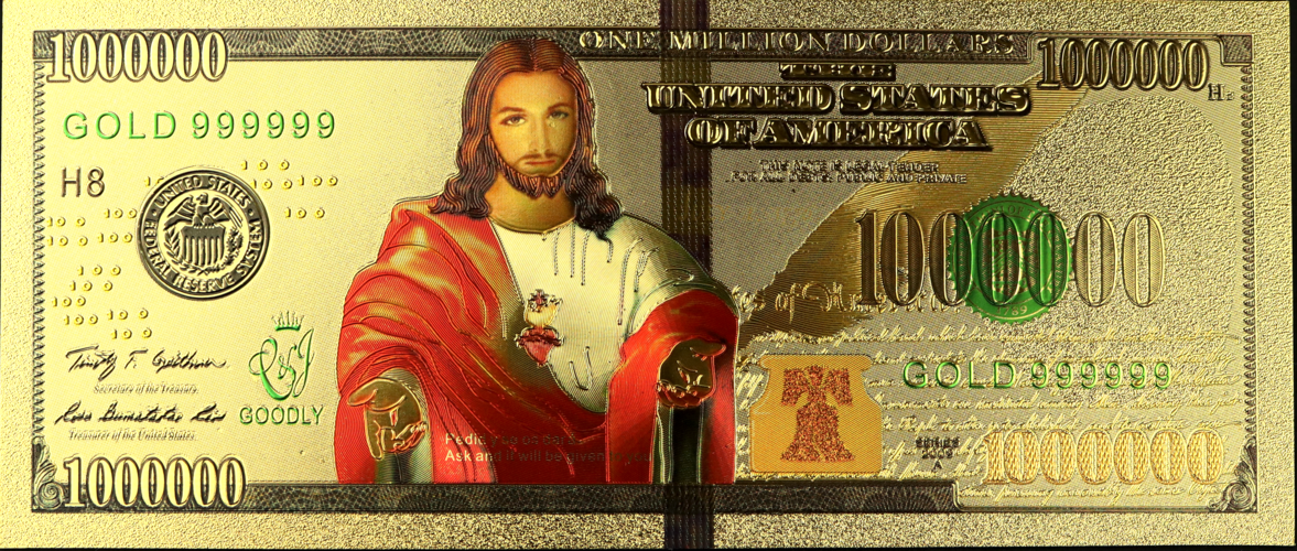 24k Gold Foil Million Dollar Jesus Bill