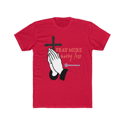 Men's Cotton Crew Tee - Pray More Worry Less