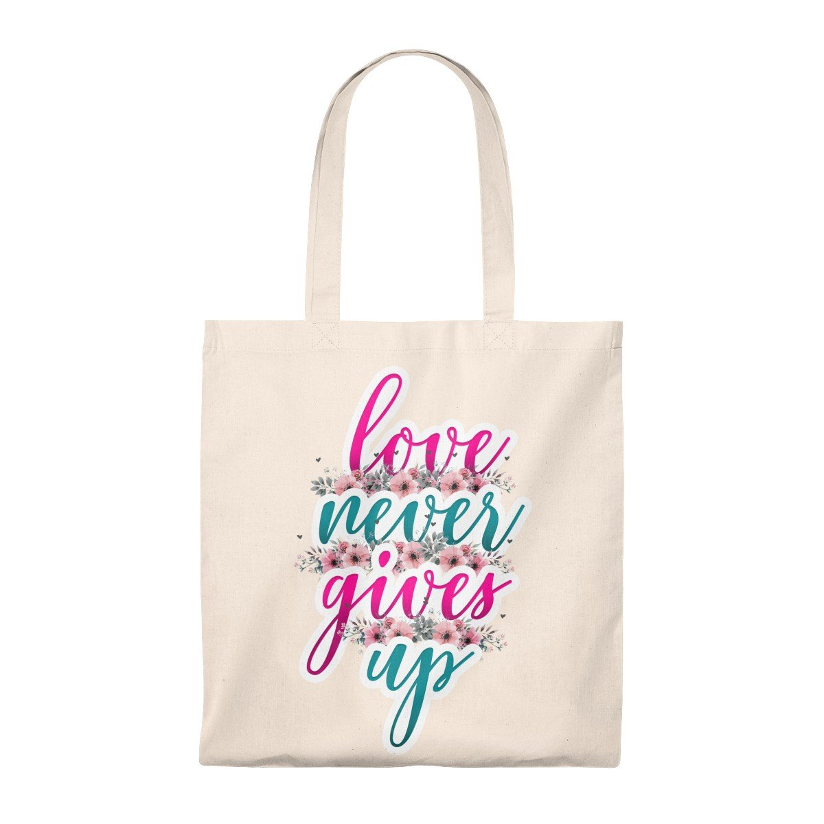 Love Never Gives Up Tote Bag - Vintage