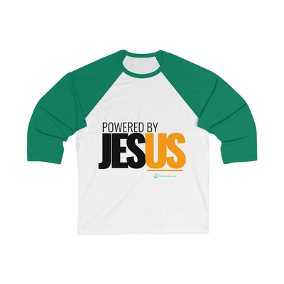 Powered By Jesus Unisex 3/4 Sleeve Baseball Tee