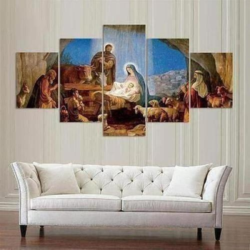 5 Piece - Birth of Jesus Christ Painted Canvas - The Divine Bazaar