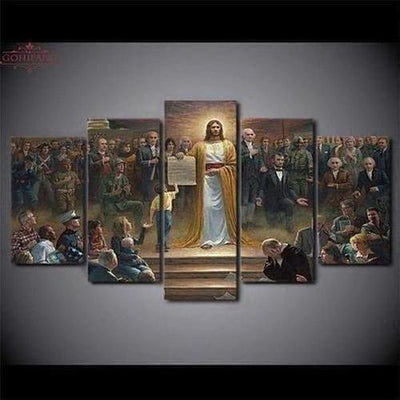 5 Piece - Classic Painting Jesus Wall Art Canvas - The Divine Bazaar