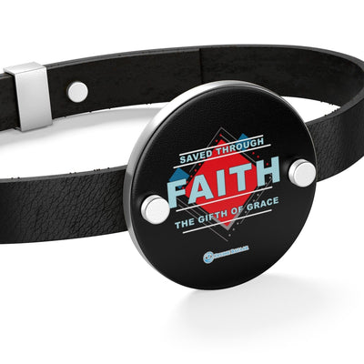 Leather Bracelet - Saved Through Faith The Gift Of Grace