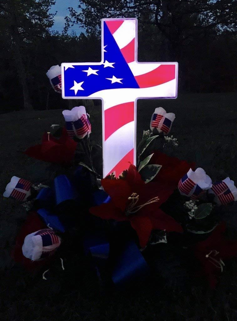 Solar lighted American Flag Cross - Perfect Cemetery Decoration for Veterans - Lighted Grave Memorial Powered By God's Light