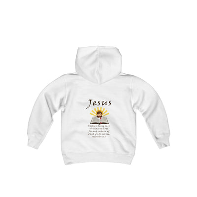 Faith is being sure Youth Heavy Blend Hooded Sweatshirt
