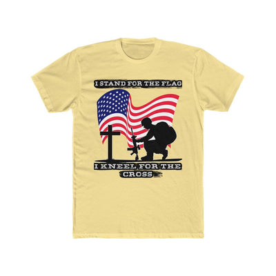Men's Cotton Crew Tee - I Stand For Flag I Kneel For God