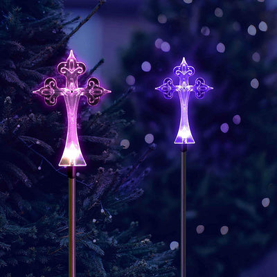 Solar Powered Cross Garden Stake Outdoor Color Change Lights (Set of 2)