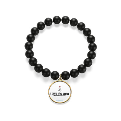 I LOVE YOU JESUS Matte Onyx Bracelet