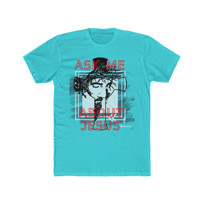 Men's Cotton Crew Tee - Ask Me About Jesus