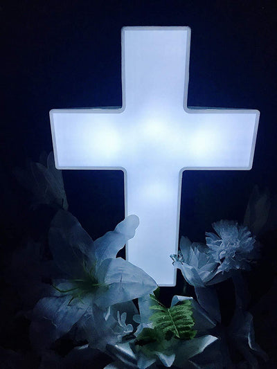 Solar Lighted Cross - The Perfect Memorial Decoration for Your Loved One That Automatically Lights Up At Night Without Wiring or Upkeep