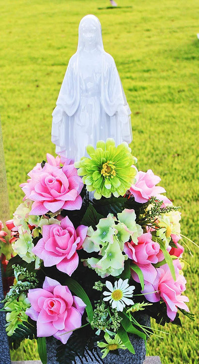 Solar Lighted Mother Mary - Cemetery Memorial Home Garden Statue Religious