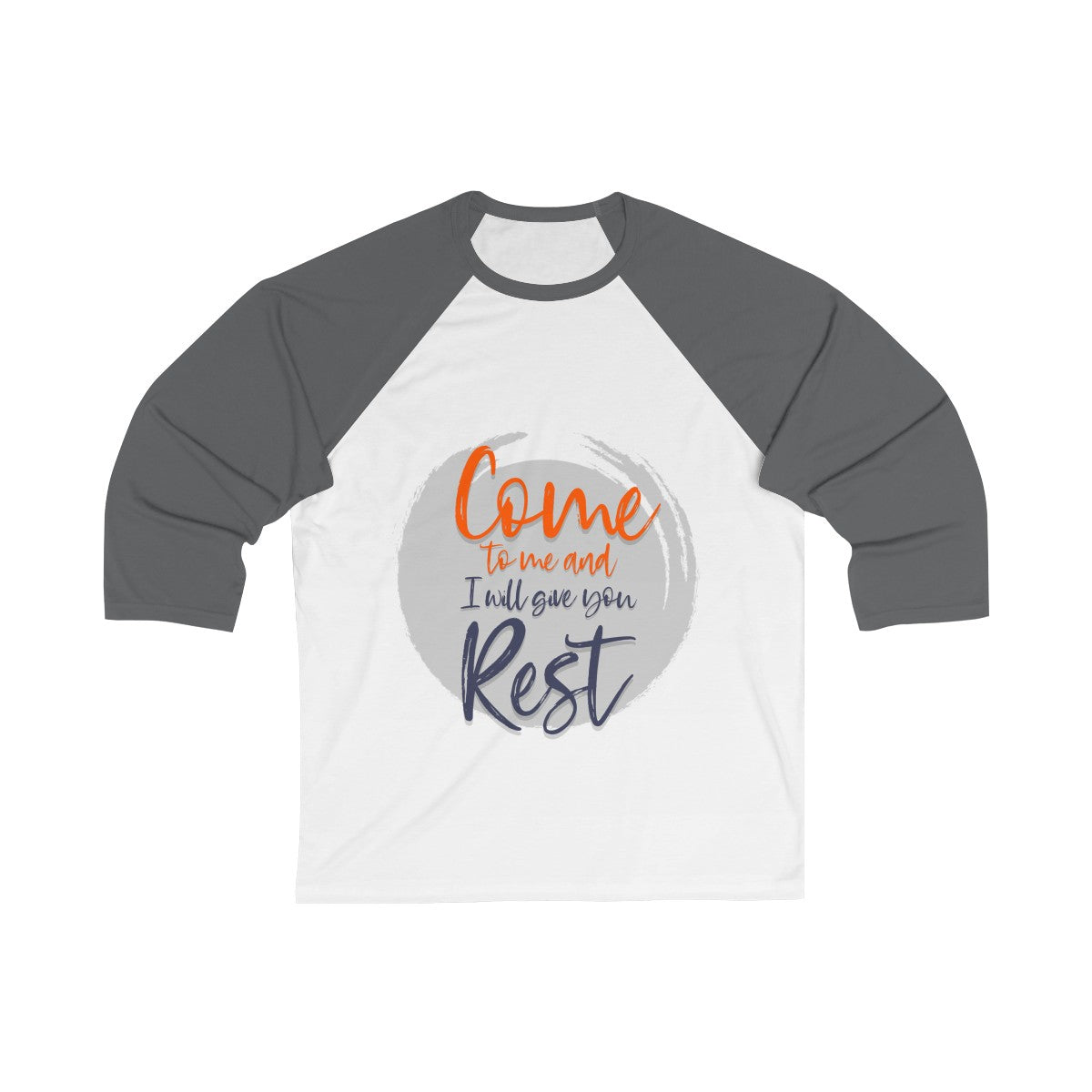 Come to me and I will give you Rest Unisex 3/4 Sleeve Baseball Tee