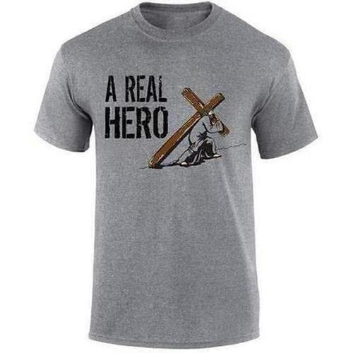 """A Real Hero Jesus"" Gospel Slogan Print T-shirt - The Divine Bazaar"