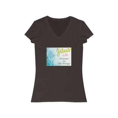 Jesus is the answer to All Things Women's Jersey Short Sleeve V-Neck Tee
