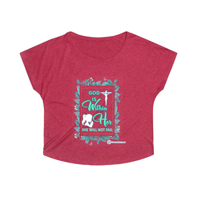 Women's Tri-Blend Dolman - God is Within Her She will not Fail