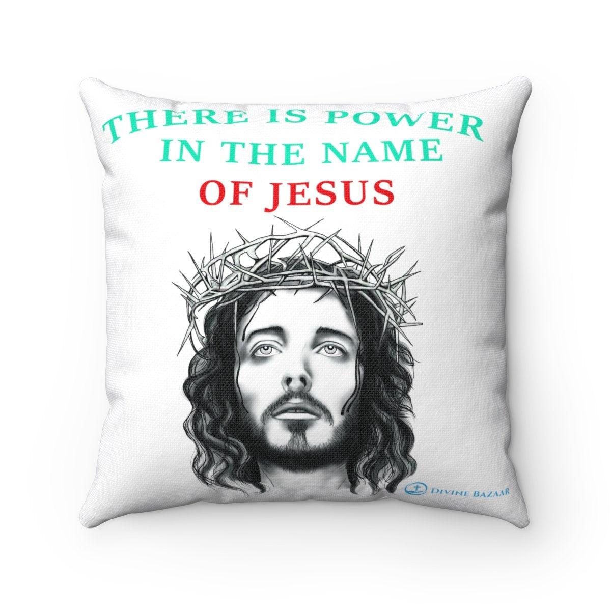 Spun Polyester Square  Pillow - There is power in the name of Jesus