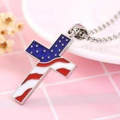 American Flag Cross Necklace - The Divine Bazaar