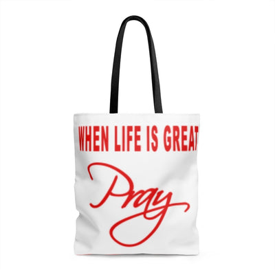 WHEN LIFE IS ROUGH PRAY- AOP Tote Bag