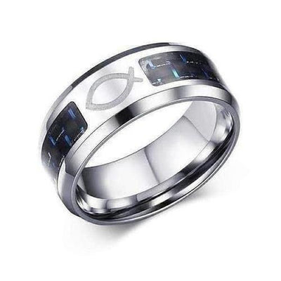 Blue Carbon Fiber Fish Ring - The Divine Bazaar