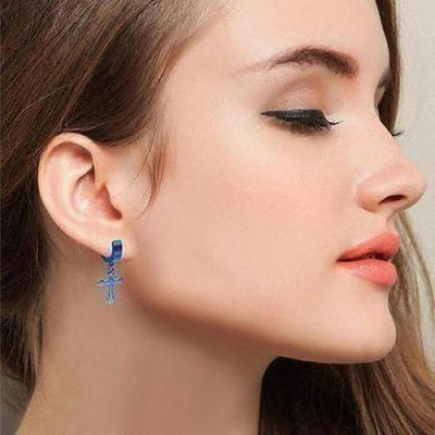 Blue Cross Dangle Earring - The Divine Bazaar
