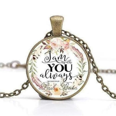 Bronze Chain Bible Verses Pendant Necklace - The Divine Bazaar