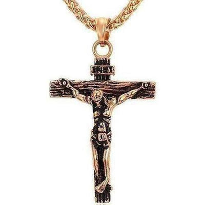 Cross Necklace Gold/Rose Gold/Black Gun Color - The Divine Bazaar