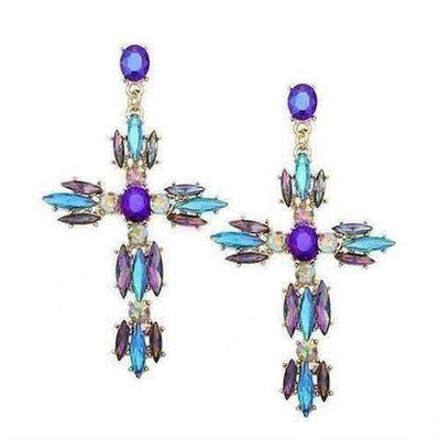 Crystal Cross Stud Earrings - The Divine Bazaar