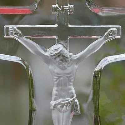 Crystal Glass Christian Jesus Statue Cross Craft - The Divine Bazaar