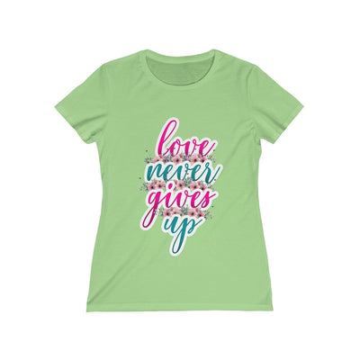 Love Never Gives Up Women's Missy Tee